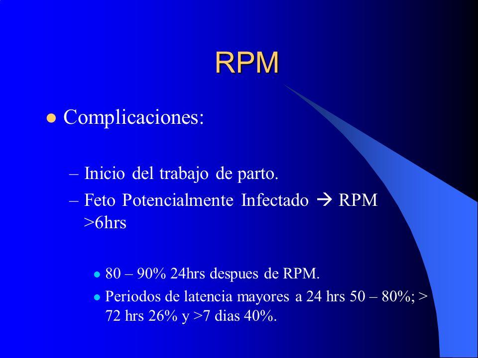 RPM Complicaciones: –Inicio del trabajo de parto. –Feto Potencialmente Infectado RPM >6hrs 80 – 90% 24hrs despues de RPM. Periodos de latencia mayores