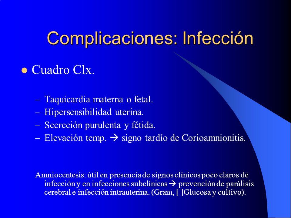 Complicaciones: Infección Cuadro Clx. –Taquicardia materna o fetal. –Hipersensibilidad uterina. –Secreción purulenta y fétida. –Elevación temp. signo