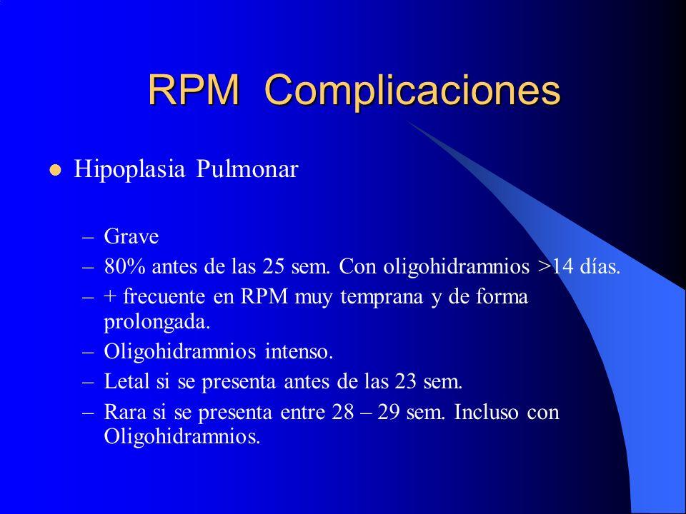RPM Complicaciones Hipoplasia Pulmonar –Grave –80% antes de las 25 sem. Con oligohidramnios >14 días. –+ frecuente en RPM muy temprana y de forma prol