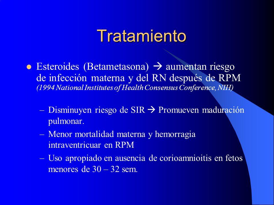 Tratamiento Esteroides (Betametasona) aumentan riesgo de infección materna y del RN después de RPM (1994 National Institutes of Health Consensus Confe