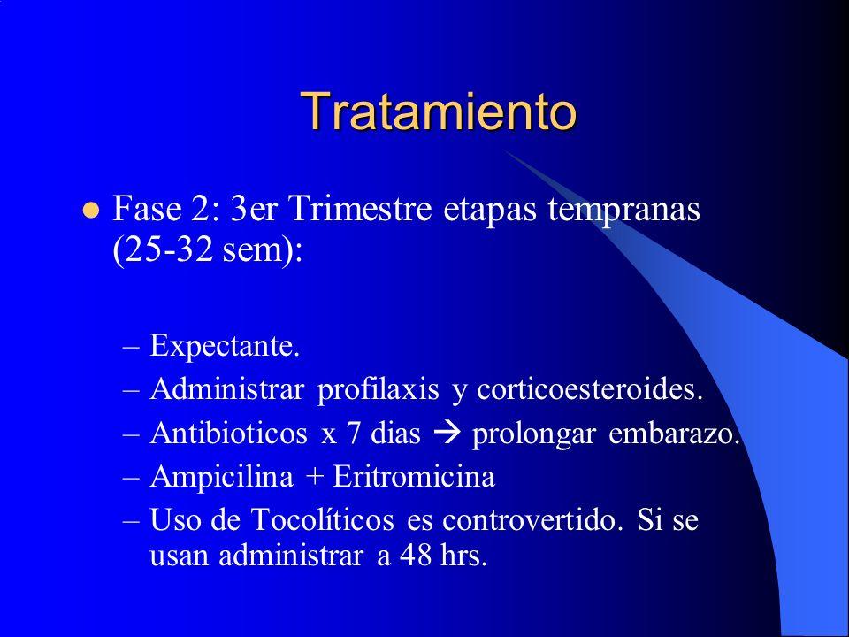 Tratamiento Fase 2: 3er Trimestre etapas tempranas (25-32 sem): –Expectante. –Administrar profilaxis y corticoesteroides. –Antibioticos x 7 dias prolo