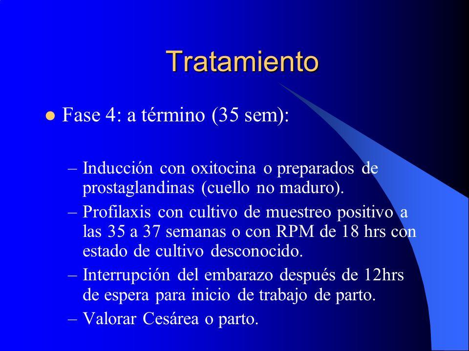 Tratamiento Fase 4: a término (35 sem): –Inducción con oxitocina o preparados de prostaglandinas (cuello no maduro). –Profilaxis con cultivo de muestr