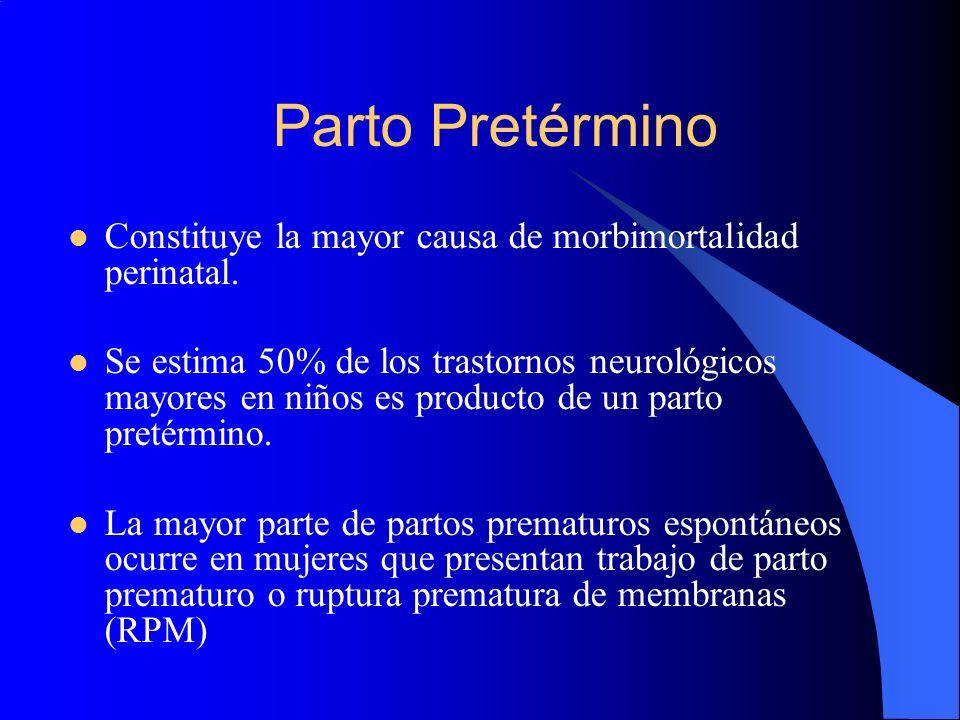 Parto Pretérmino Constituye la mayor causa de morbimortalidad perinatal. Se estima 50% de los trastornos neurológicos mayores en niños es producto de