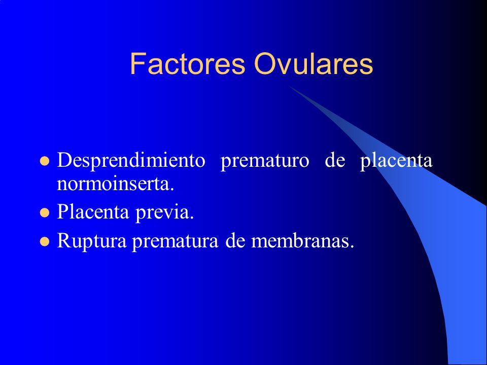 Factores Ovulares Desprendimiento prematuro de placenta normoinserta. Placenta previa. Ruptura prematura de membranas.