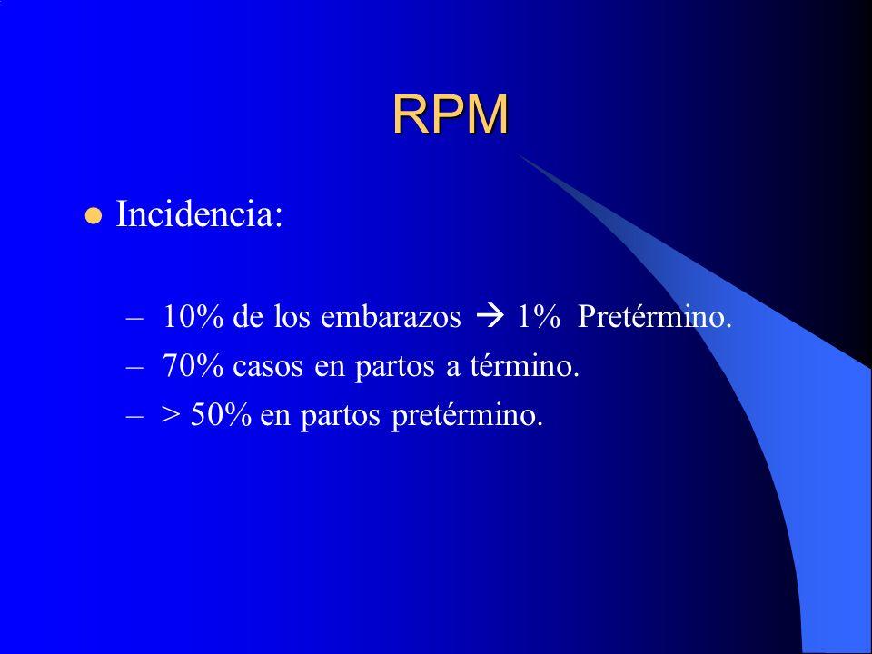 RPM Incidencia: – 10% de los embarazos 1% Pretérmino. – 70% casos en partos a término. – > 50% en partos pretérmino.