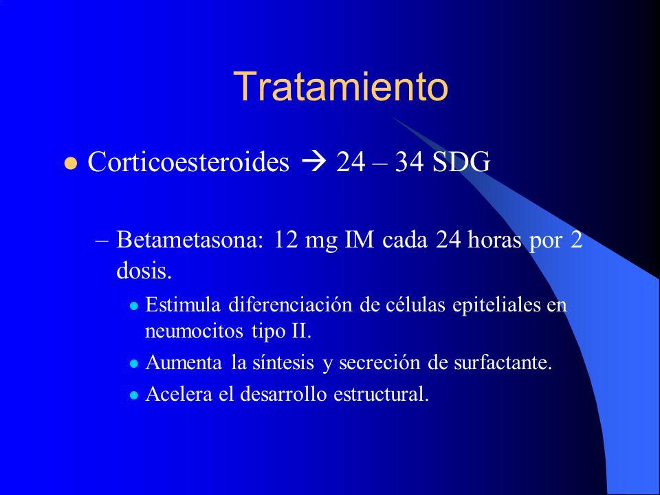 Tratamiento Corticoesteroides 24 – 34 SDG –Betametasona: 12 mg IM cada 24 horas por 2 dosis. Estimula diferenciación de células epiteliales en neumoci