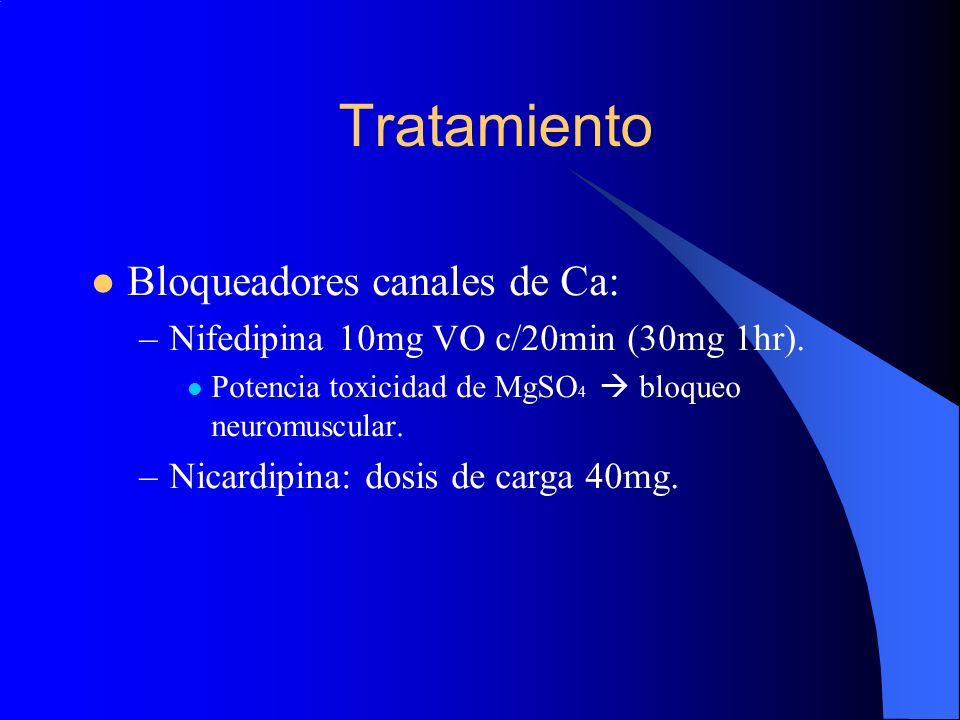 Tratamiento Bloqueadores canales de Ca: –Nifedipina 10mg VO c/20min (30mg 1hr). Potencia toxicidad de MgSO 4 bloqueo neuromuscular. –Nicardipina: dosi