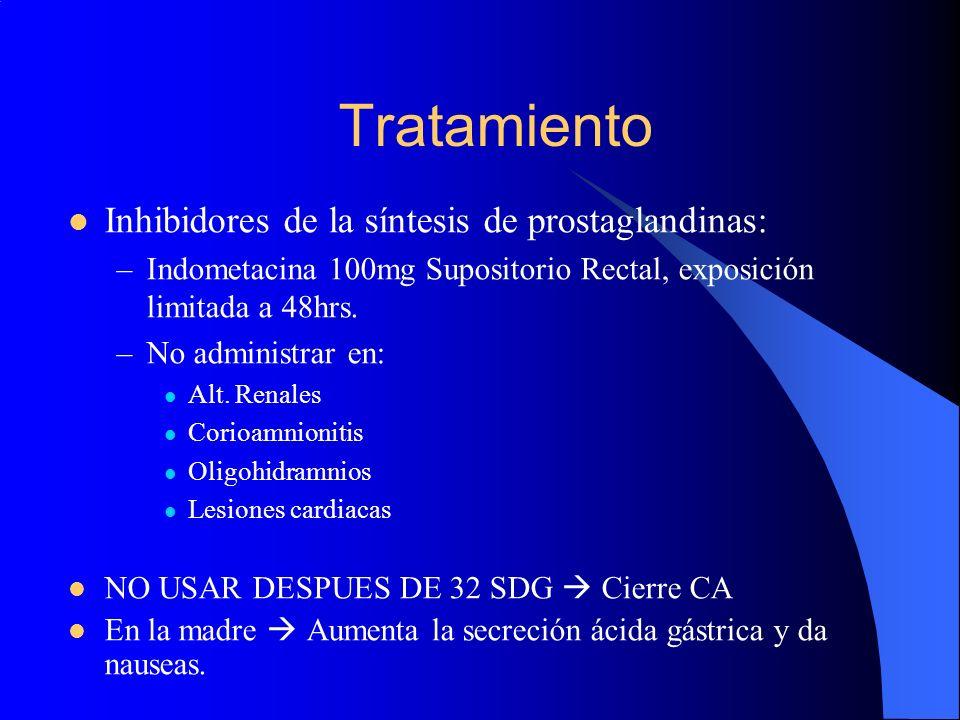 Tratamiento Inhibidores de la síntesis de prostaglandinas: –Indometacina 100mg Supositorio Rectal, exposición limitada a 48hrs. –No administrar en: Al
