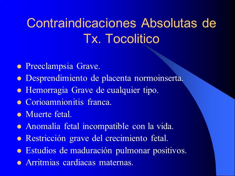 Contraindicaciones Absolutas de Tx. Tocolitico Preeclampsia Grave. Desprendimiento de placenta normoinserta. Hemorragia Grave de cualquier tipo. Corio