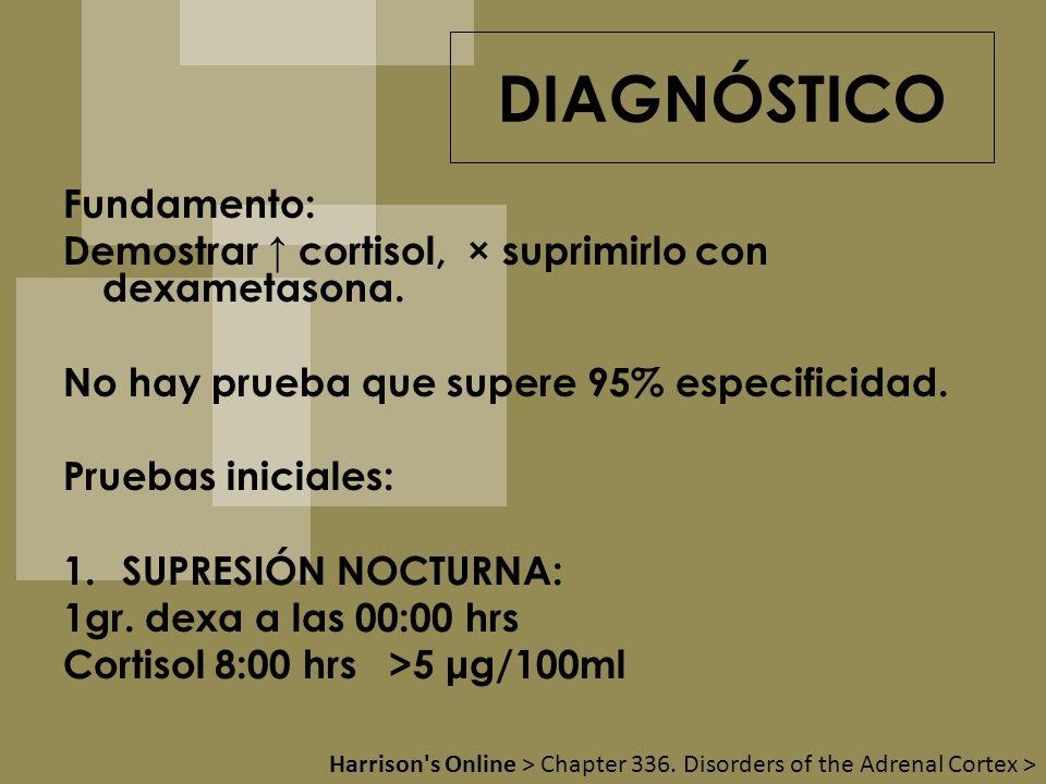 DIAGNÓSTICO Fundamento: Demostrar cortisol, × suprimirlo con dexametasona. No hay prueba que supere 95% especificidad. Pruebas iniciales: 1.SUPRESIÓN