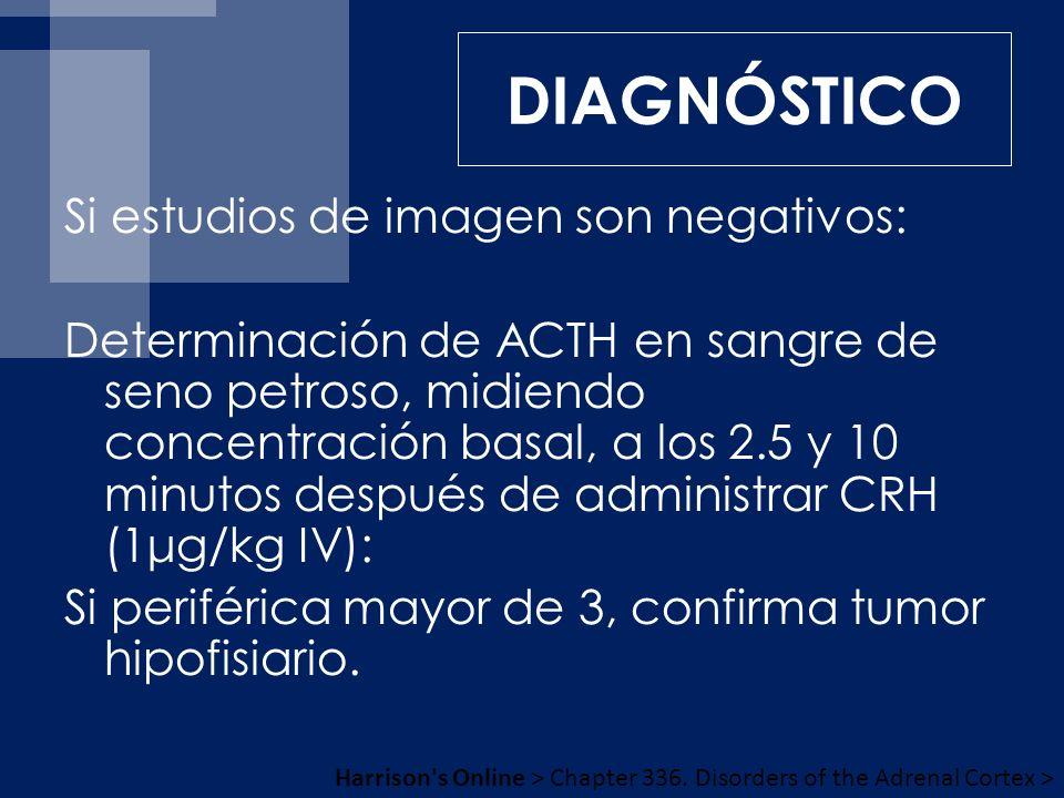 Si estudios de imagen son negativos: Determinación de ACTH en sangre de seno petroso, midiendo concentración basal, a los 2.5 y 10 minutos después de