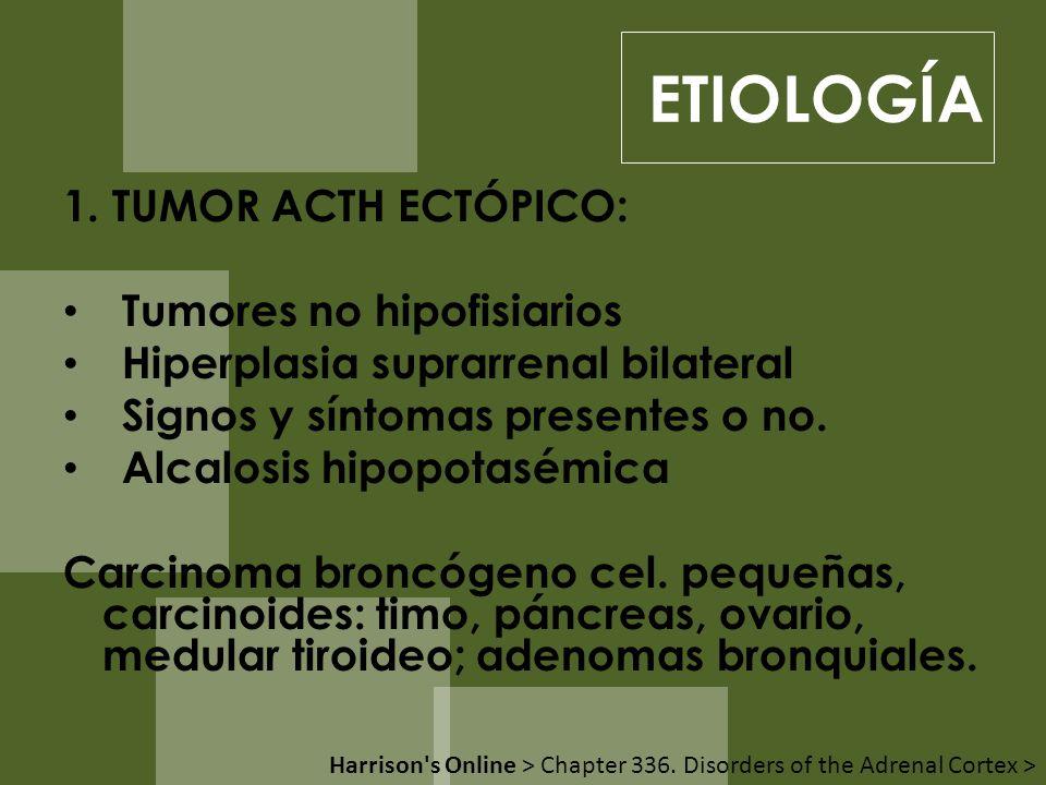 1. TUMOR ACTH ECTÓPICO: Tumores no hipofisiarios Hiperplasia suprarrenal bilateral Signos y síntomas presentes o no. Alcalosis hipopotasémica Carcinom
