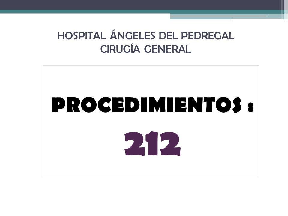 HOSPITAL ÁNGELES DEL PEDREGAL CIRUGÍA GENERAL PROCEDIMIENTOS : 212