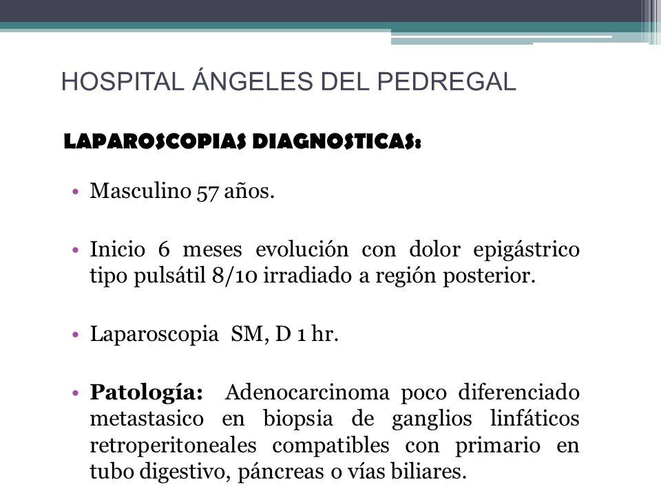 LAPAROSCOPIAS DIAGNOSTICAS: Masculino 57 años. Inicio 6 meses evolución con dolor epigástrico tipo pulsátil 8/10 irradiado a región posterior. Laparos