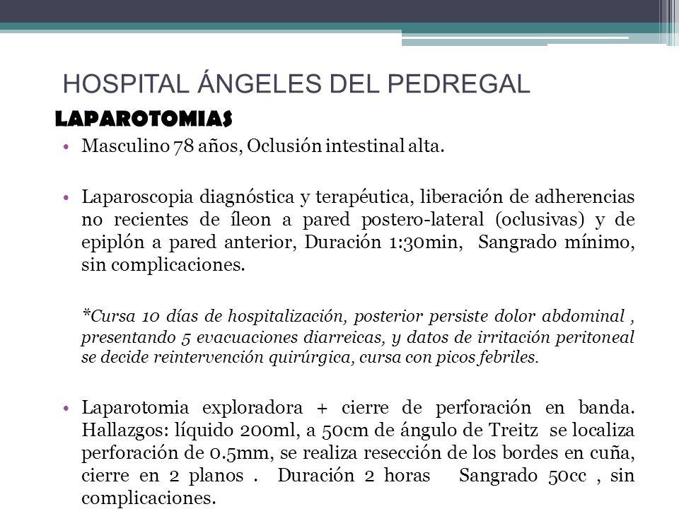 LAPAROTOMIAS Masculino 78 años, Oclusión intestinal alta. Laparoscopia diagnóstica y terapéutica, liberación de adherencias no recientes de íleon a pa