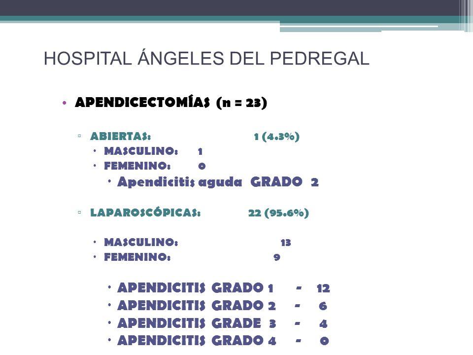 APENDICECTOMÍAS (n = 23) ABIERTAS: 1 (4.3%) MASCULINO:1 FEMENINO:0 Apendicitis aguda GRADO 2 LAPAROSCÓPICAS: 22 (95.6%) MASCULINO: 13 FEMENINO: 9 APEN