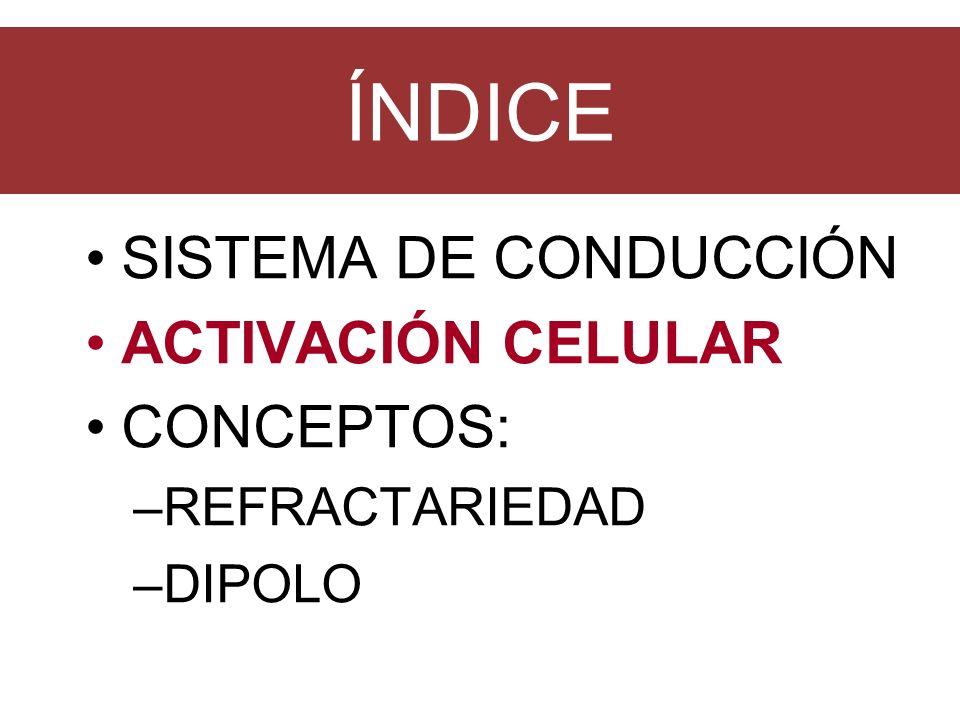 ÍNDICE SISTEMA DE CONDUCCIÓN ACTIVACIÓN CELULAR CONCEPTOS: –REFRACTARIEDAD –DIPOLO