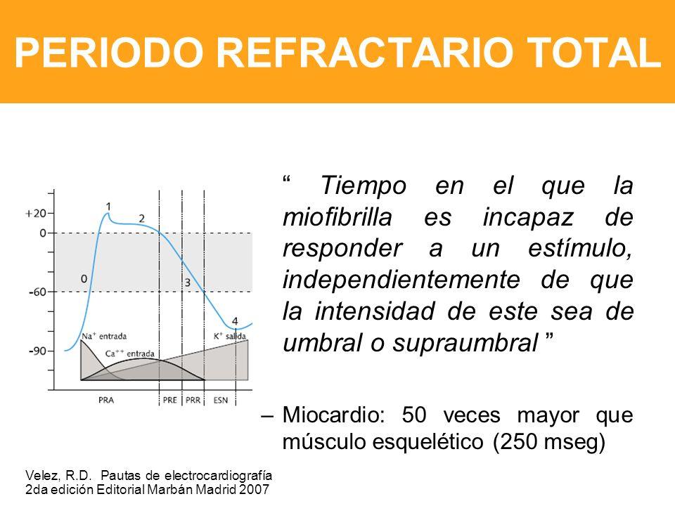 PERIODO REFRACTARIO TOTAL Tiempo en el que la miofibrilla es incapaz de responder a un estímulo, independientemente de que la intensidad de este sea de umbral o supraumbral –Miocardio: 50 veces mayor que músculo esquelético (250 mseg) Velez, R.D.