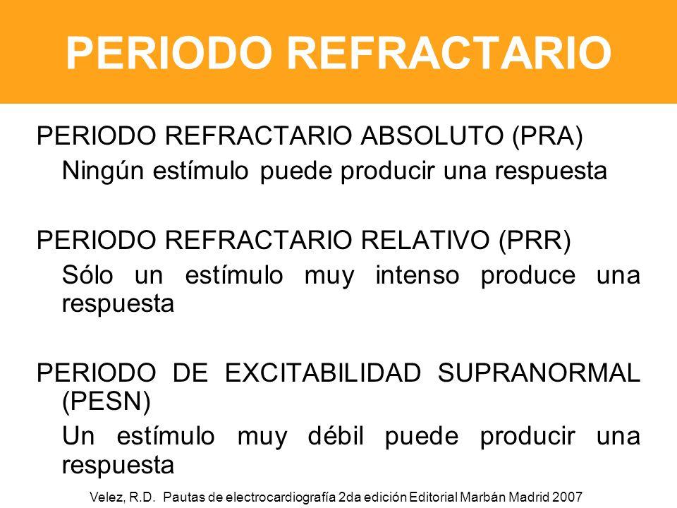 PERIODO REFRACTARIO PERIODO REFRACTARIO ABSOLUTO (PRA) Ningún estímulo puede producir una respuesta PERIODO REFRACTARIO RELATIVO (PRR) Sólo un estímulo muy intenso produce una respuesta PERIODO DE EXCITABILIDAD SUPRANORMAL (PESN) Un estímulo muy débil puede producir una respuesta Velez, R.D.