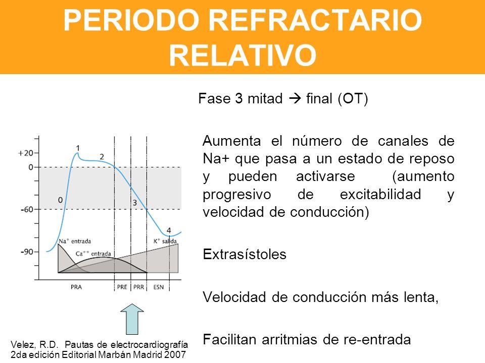 PERIODO REFRACTARIO RELATIVO Fase 3 mitad final (OT) Aumenta el número de canales de Na+ que pasa a un estado de reposo y pueden activarse (aumento progresivo de excitabilidad y velocidad de conducción) Extrasístoles Velocidad de conducción más lenta, Facilitan arritmias de re-entrada Velez, R.D.