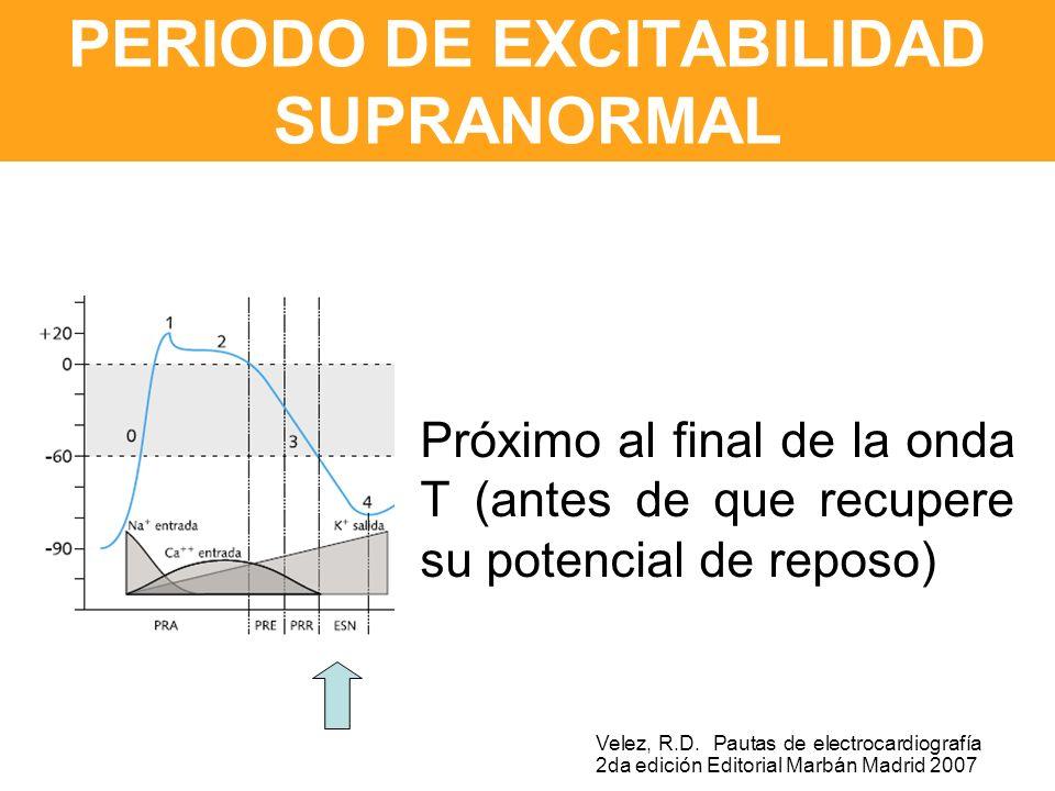 PERIODO DE EXCITABILIDAD SUPRANORMAL Próximo al final de la onda T (antes de que recupere su potencial de reposo) Velez, R.D.