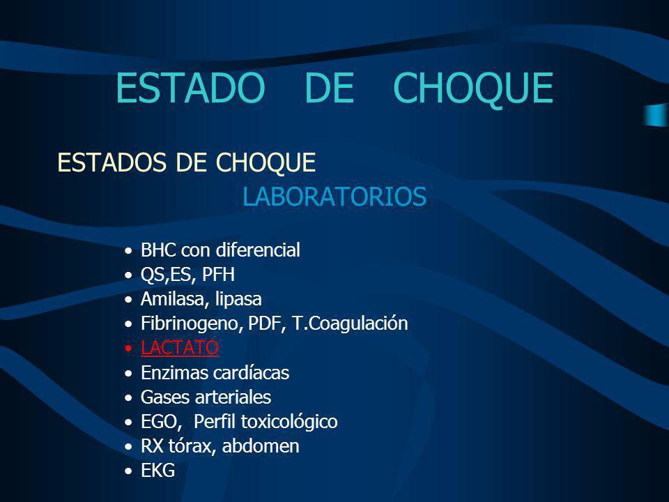 ESTADO DE CHOQUE TIPOS DE CHOQUE - HIPOVOLEMICO - CARDIOGENICO - DISTRIBUTIVO