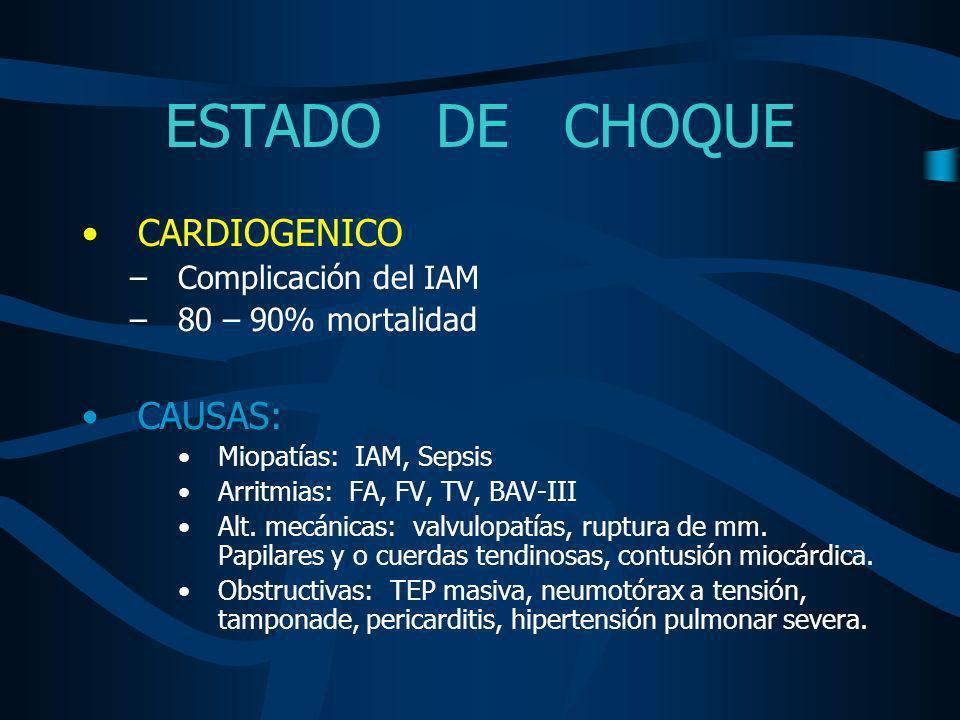 ESTADO DE CHOQUE TRATAMIENTO CHOQUE CARDIOGENICO MEDIDAS GENERALES SOPORTE VENTILATORIOOPTIMIZAR VOLUMEN INTRAVASCULAR ASPIRINA HEPARINA