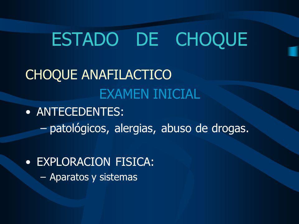 ESTADO DE CHOQUE TRATAMIENTO CHOQUE ANAFILACTICO MANEJO INICIAL Epinefrina - 0.5 – 1 ml / IV o endotraqueal Glucagon - 1 mg / IV - efecto inotropico-cronotropico Líquidos intravenosos (cristaloides) Difenhidramina - 25-50 mg / IV / 4-6hrs Cimetidina u otro bloqueador H2 - 300mg / IV / 8hrs Hidrocortisona - 100mg / IV / 6 hrs Beta agonistas en MNB Vasopresores