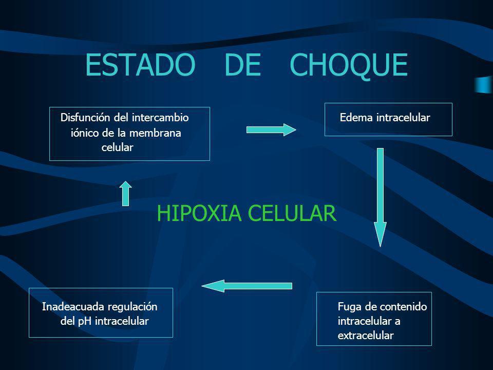 ESTADO DE CHOQUE DISFUNCION CELULAR –Puede volverse rápidamente irreversible –Induce muerte celular secuencial –Falla orgánica múltiple –MUERTE