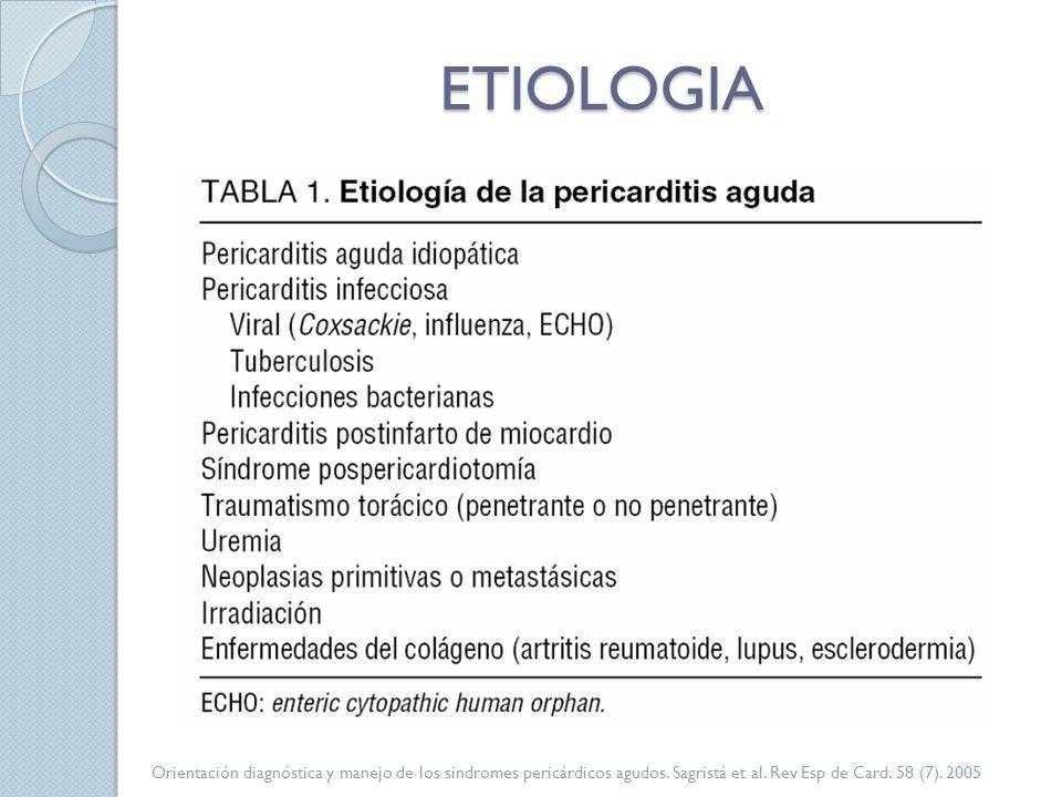 ETIOLOGIA Orientación diagnóstica y manejo de los sindromes pericárdicos agudos. Sagristá et al. Rev Esp de Card. 58 (7). 2005