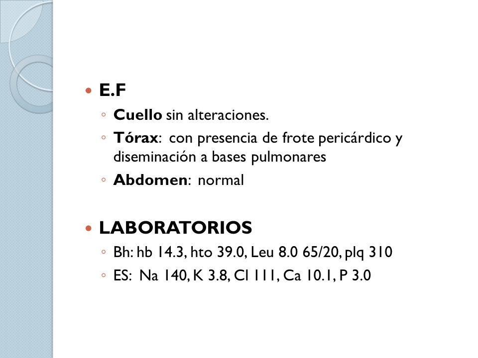 Exudados de fibrina, PMN, mycobacterias Principia formación de granuloma con poca organización de macrófagos y células T Exudado serohemático con predominio de linfocitos, monocitos y células espumosas Absorción de exudado Formación de granuloma y engrosamiento del pericardio Cicatrización Adenosina Desaminase in the Diagnosis of Tuberculosis Pericardial Efussion.