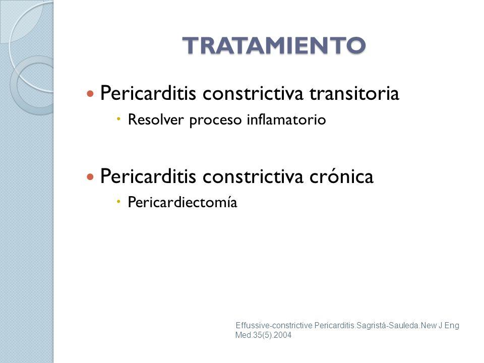 Pericarditis constrictiva transitoria Resolver proceso inflamatorio Pericarditis constrictiva crónica Pericardiectomía TRATAMIENTO Effussive-constrictive Pericarditis.Sagristá-Sauleda.New J Eng Med.35(5).2004