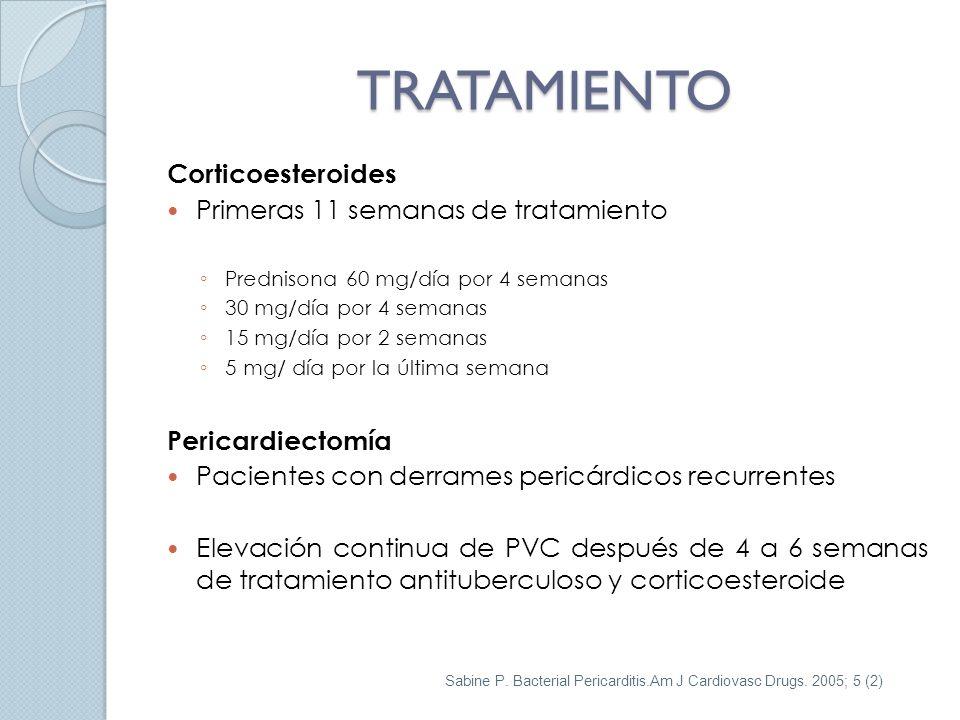 TRATAMIENTO Corticoesteroides Primeras 11 semanas de tratamiento Prednisona 60 mg/día por 4 semanas 30 mg/día por 4 semanas 15 mg/día por 2 semanas 5 mg/ día por la última semana Pericardiectomía Pacientes con derrames pericárdicos recurrentes Elevación continua de PVC después de 4 a 6 semanas de tratamiento antituberculoso y corticoesteroide Sabine P.