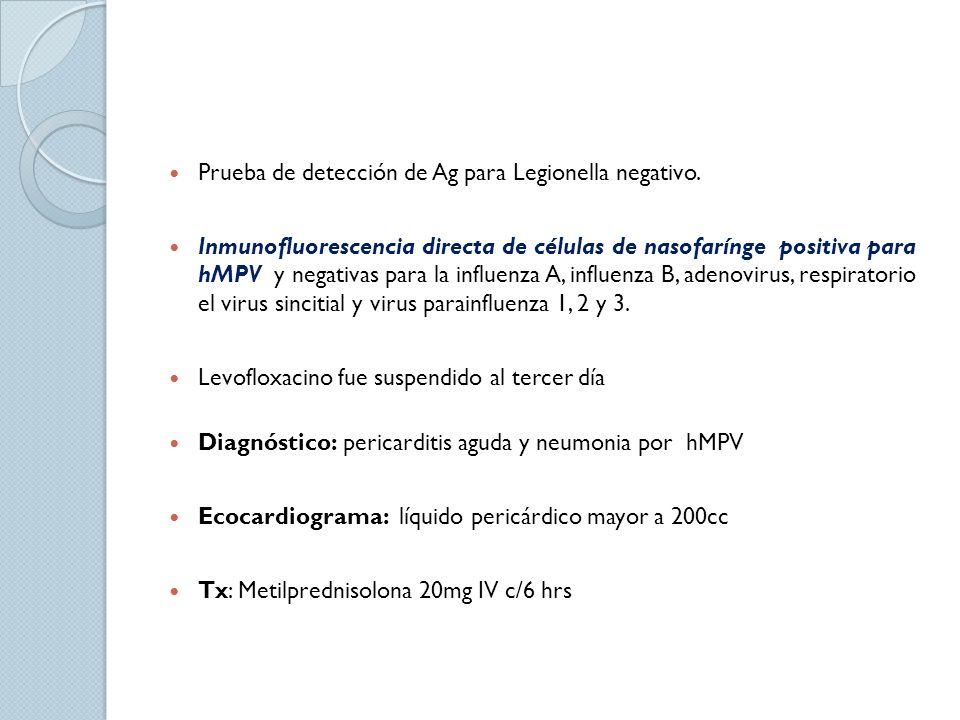 Prueba de detección de Ag para Legionella negativo. Inmunofluorescencia directa de células de nasofarínge positiva para hMPV y negativas para la influ