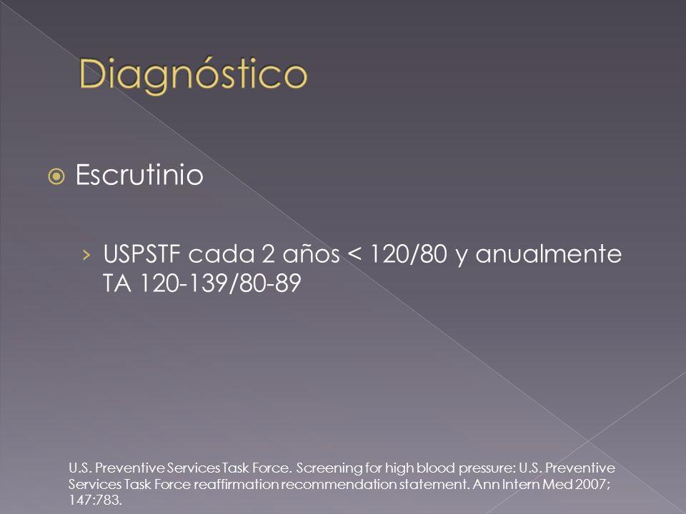 Escrutinio USPSTF cada 2 años < 120/80 y anualmente TA 120-139/80-89 U.S.