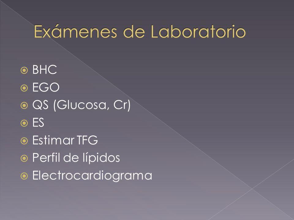 BHC EGO QS (Glucosa, Cr) ES Estimar TFG Perfil de lípidos Electrocardiograma