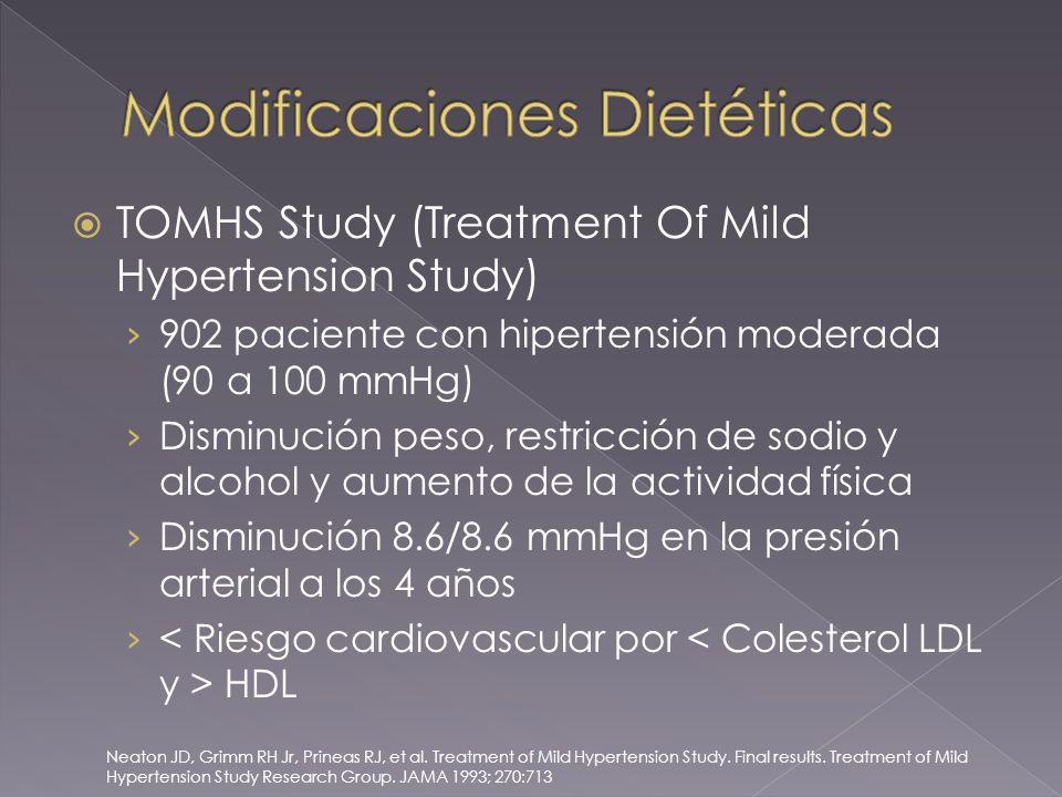 TOMHS Study (Treatment Of Mild Hypertension Study) 902 paciente con hipertensión moderada (90 a 100 mmHg) Disminución peso, restricción de sodio y alcohol y aumento de la actividad física Disminución 8.6/8.6 mmHg en la presión arterial a los 4 años HDL Neaton JD, Grimm RH Jr, Prineas RJ, et al.