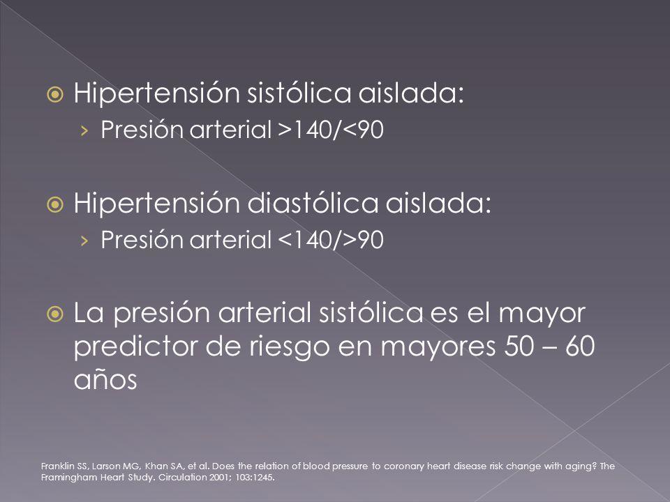 Hipertensión sistólica aislada: Presión arterial >140/<90 Hipertensión diastólica aislada: Presión arterial 90 La presión arterial sistólica es el mayor predictor de riesgo en mayores 50 – 60 años Franklin SS, Larson MG, Khan SA, et al.