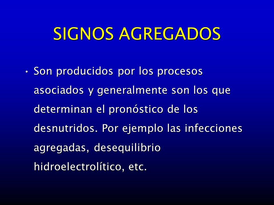 SIGNOS AGREGADOS Son producidos por los procesos asociados y generalmente son los que determinan el pronóstico de los desnutridos. Por ejemplo las inf