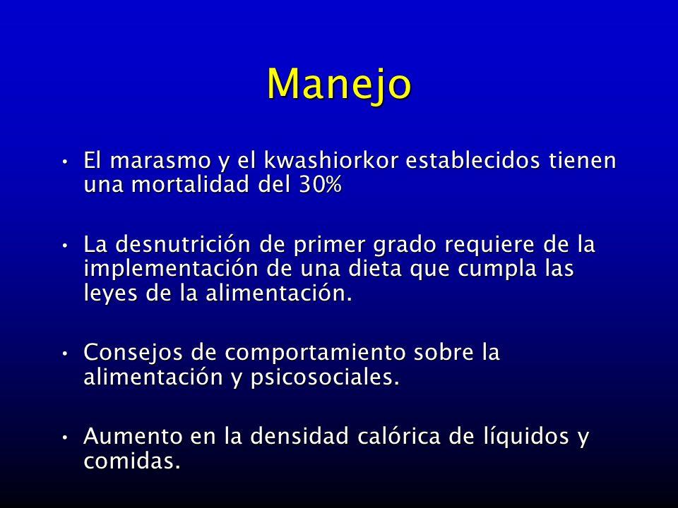 Manejo El marasmo y el kwashiorkor establecidos tienen una mortalidad del 30%El marasmo y el kwashiorkor establecidos tienen una mortalidad del 30% La