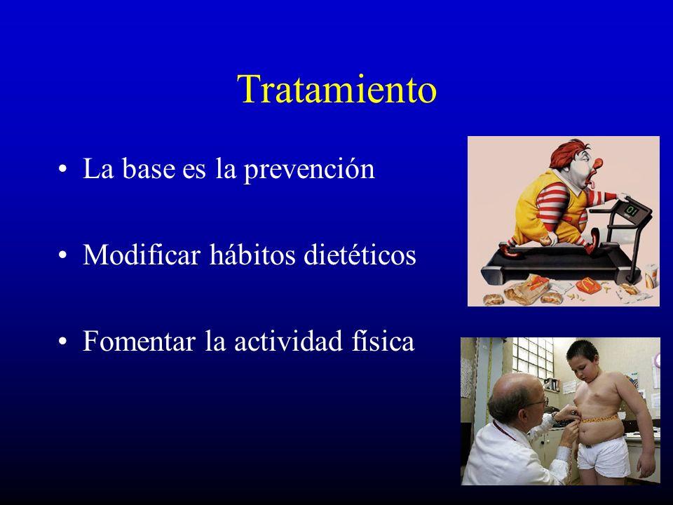 Tratamiento La base es la prevención Modificar hábitos dietéticos Fomentar la actividad física