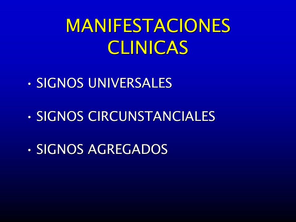 MANIFESTACIONES CLINICAS SIGNOS UNIVERSALESSIGNOS UNIVERSALES SIGNOS CIRCUNSTANCIALESSIGNOS CIRCUNSTANCIALES SIGNOS AGREGADOSSIGNOS AGREGADOS