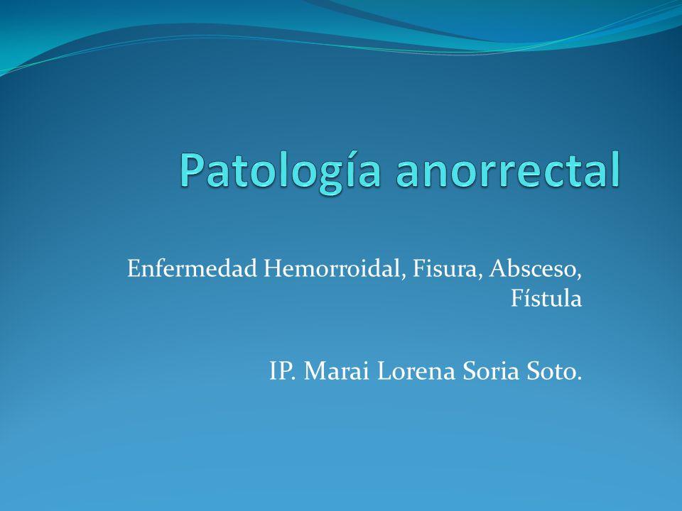 Enfermedad Hemorroidal, Fisura, Absceso, Fístula IP. Marai Lorena Soria Soto.