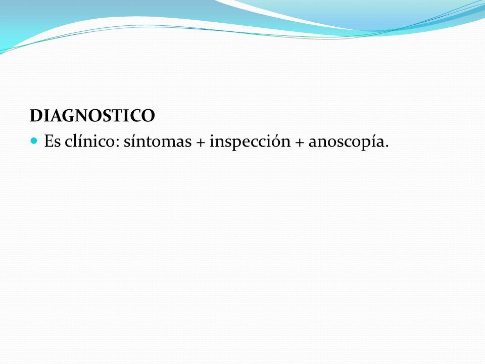 DIAGNOSTICO Es clínico: síntomas + inspección + anoscopía.