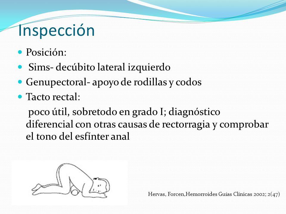 Inspección Posición: Sims- decúbito lateral izquierdo Genupectoral- apoyo de rodillas y codos Tacto rectal: poco útil, sobretodo en grado I; diagnósti