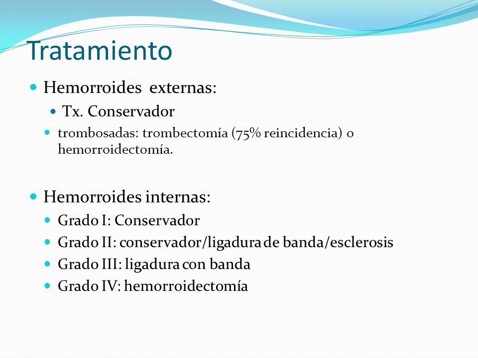 Tratamiento Hemorroides externas: Tx. Conservador trombosadas: trombectomía (75% reincidencia) o hemorroidectomía. Hemorroides internas: Grado I: Cons