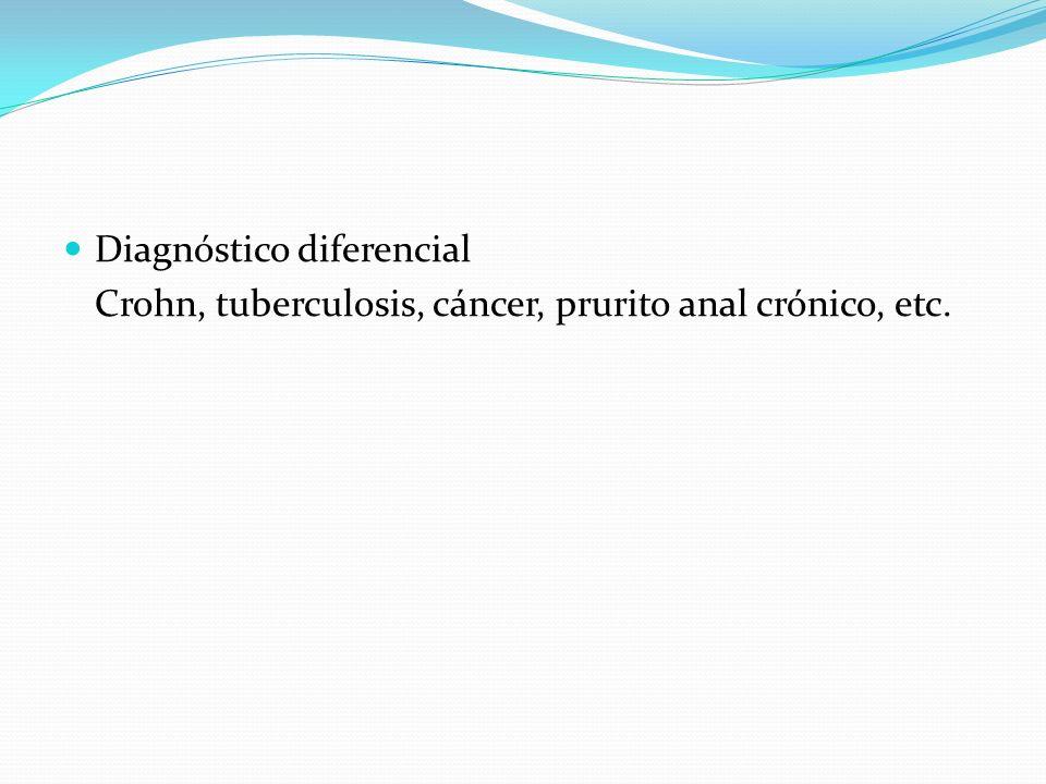 Diagnóstico diferencial Crohn, tuberculosis, cáncer, prurito anal crónico, etc.