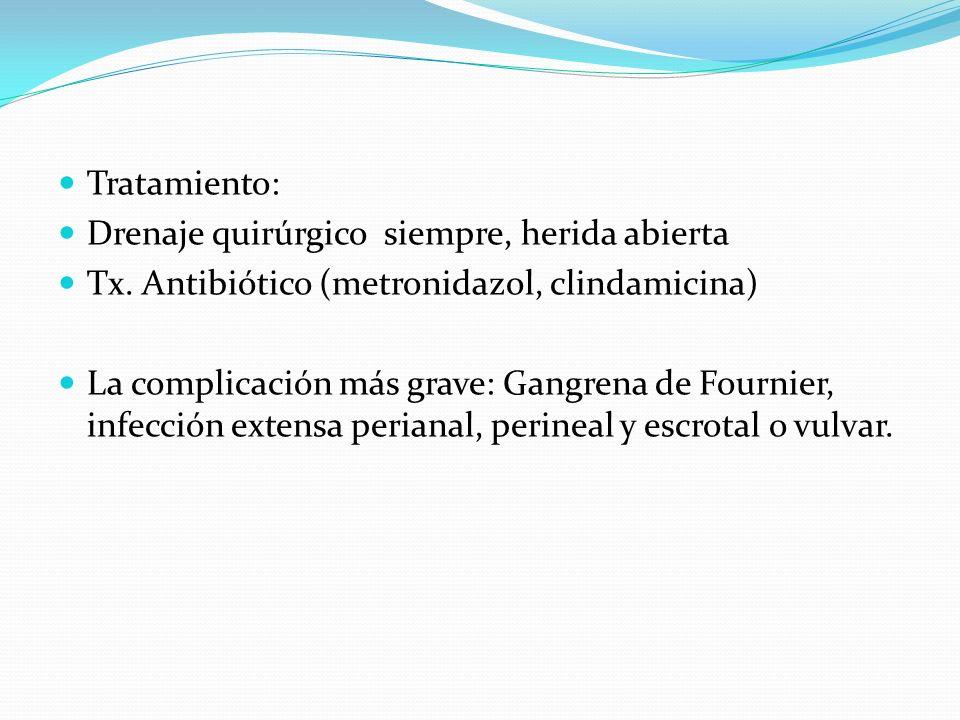 Tratamiento: Drenaje quirúrgico siempre, herida abierta Tx. Antibiótico (metronidazol, clindamicina) La complicación más grave: Gangrena de Fournier,