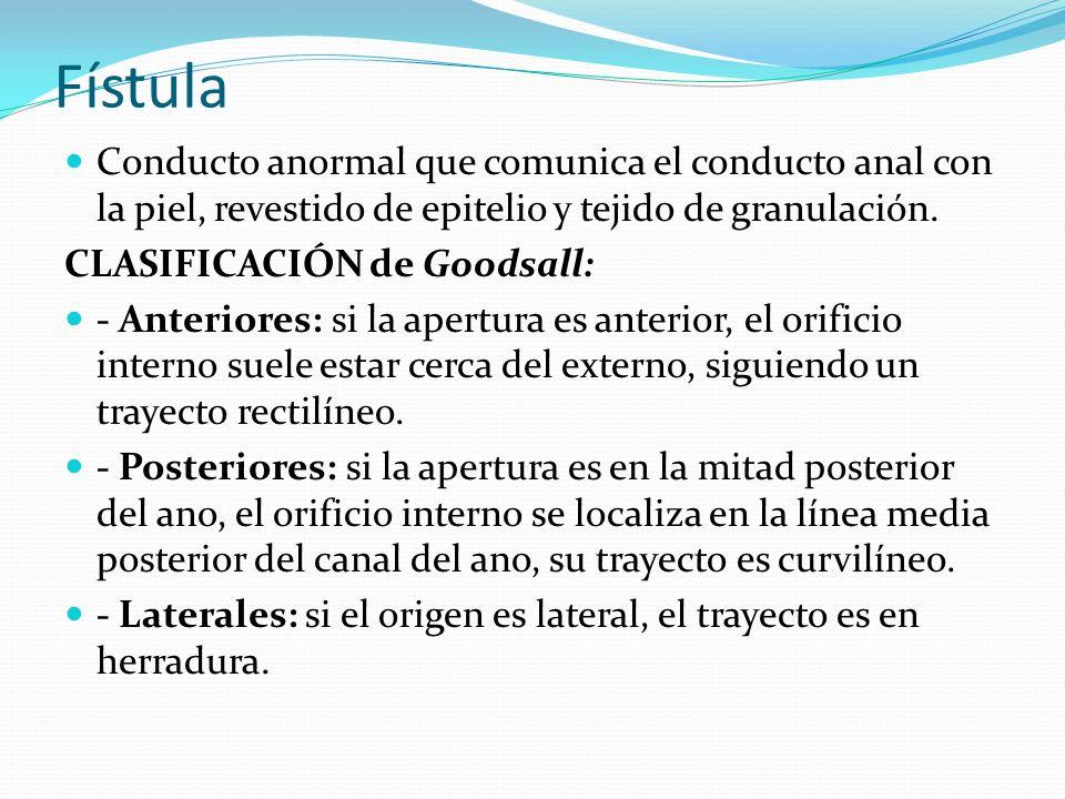 Fístula Conducto anormal que comunica el conducto anal con la piel, revestido de epitelio y tejido de granulación. CLASIFICACIÓN de Goodsall: - Anteri