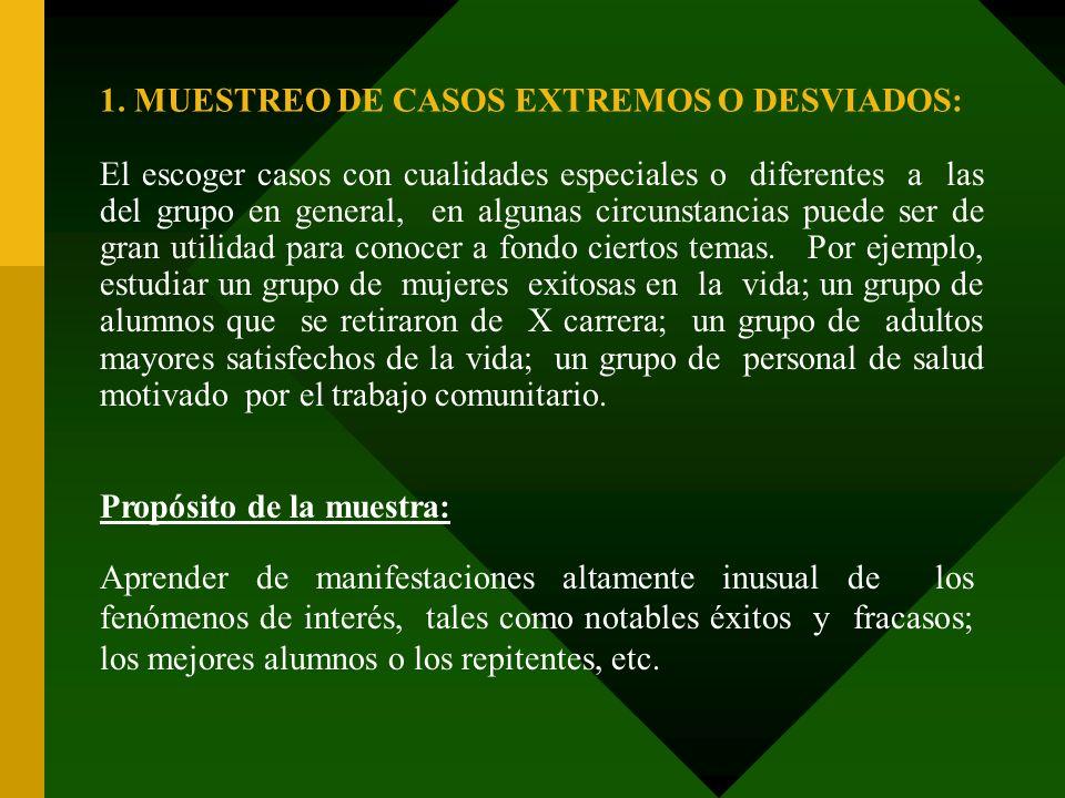 1. MUESTREO DE CASOS EXTREMOS O DESVIADOS: El escoger casos con cualidades especiales o diferentes a las del grupo en general, en algunas circunstanci